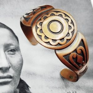 Vintage Solid Copper Native American bracelet